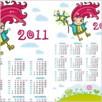Link to2011 handdrawn cartoon clip art calendar