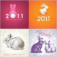 Link to2011 rabbit image background vector