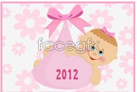 Link to2012 calendar year cartoon vector
