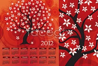 Link to2012 cartoon calendar template vector