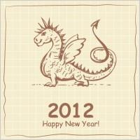 Link to2012 cartoon dragon cards 01 vector