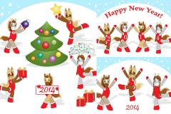 Link to2014 cheerleading cartoon horse vector illustration