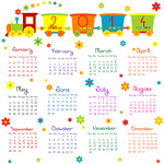 Link to2014 childlike calendar vector
