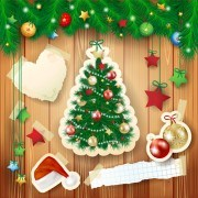 Link to2014 christmas baubles and wooden background set 01 vector