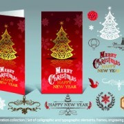 Link to2014 christmas decoration calligraphic with typographic vector 05