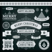 Link to2014 christmas labels and borders with ribbon vector 01