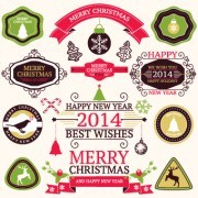 Link to2014 christmas lables ribbon and baubles ornaments vector 01