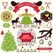 Link to2014 christmas lables ribbon and baubles ornaments vector 04