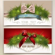 Link to2014 christmas pine needles with bow cards 02 vector
