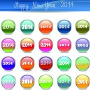 Link to2014 happy new year glass button vector 02