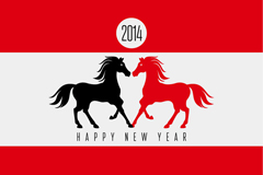 Link to2014 two-horse new year poster vector