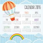 Link to2016 a hot-air balloon calendar vector