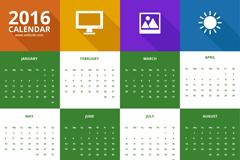 Link to2016 calendar color vector