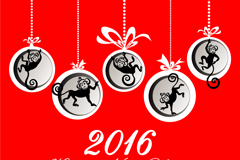 Link to2016 monkey ornaments greeting card vector