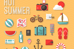 24 exquisite summer elements vector