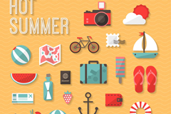 24 fine summer icons vector