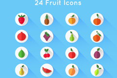 24 flat style fruit icon vector