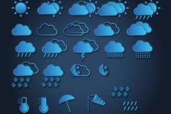 25 beautiful blue vector weather icons