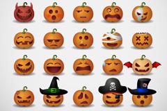 Link to25 cartoon pumpkin face icon vector