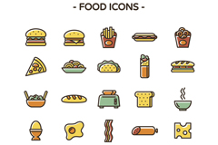 25 color food icon vector