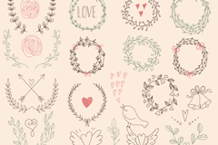 Link to25 hand-painted garlands and lace vector
