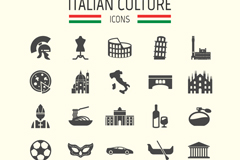 Link to25 italy travel element icon vector