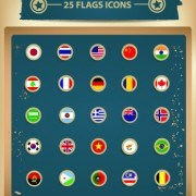Link to25 kind vintage flags icons vector