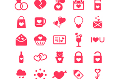 Link to25 red love element icon vector