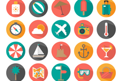 25 summer holiday icon vector