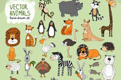 26 hand-painted animals design vector