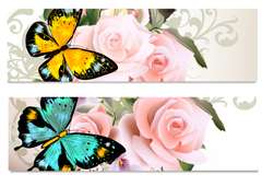 Link to3 beautiful butterfly roses banner vector