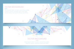 Link to3 blue geometric-shaped banner vector diagrams