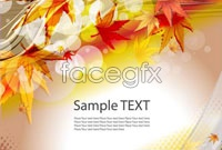 Link to3 brilliant autumn leaves background vector
