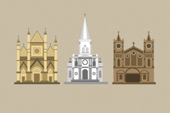 Link to3 cartoon church design vector