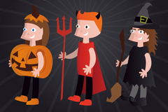 Link to3 cartoon halloween costume character design vector