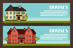 Link to3 cartoon house banner vector
