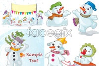 Link to3 cartoon snowman christmas vector illustration