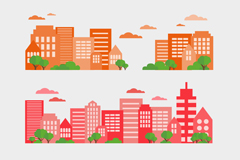 Link to3 color city complex banner vector