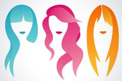 3 color long hair women head vector