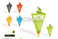 Link to3 color marketing labels origami vector