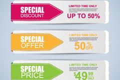 Link to3 color promotional banner design vector