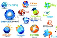 Link to3 color vertical logo icon vector