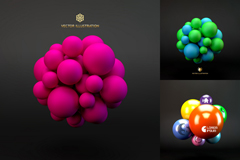 3 colour 3d globe ornament vector background