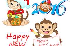 Link to3 cute monkey new year vector
