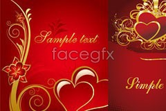 Link to3 european style red heart-shaped vector