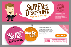 Link to3 flat promotional banner vector