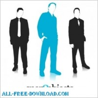 Link to3 free vector business silhouettes