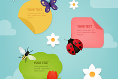 3 fresh insects decorative stickers vector