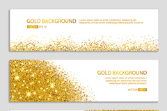 Link to3 gold glitter and gold banner vector diagrams