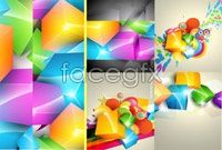 Link to3 gorgeous color cubes background vector